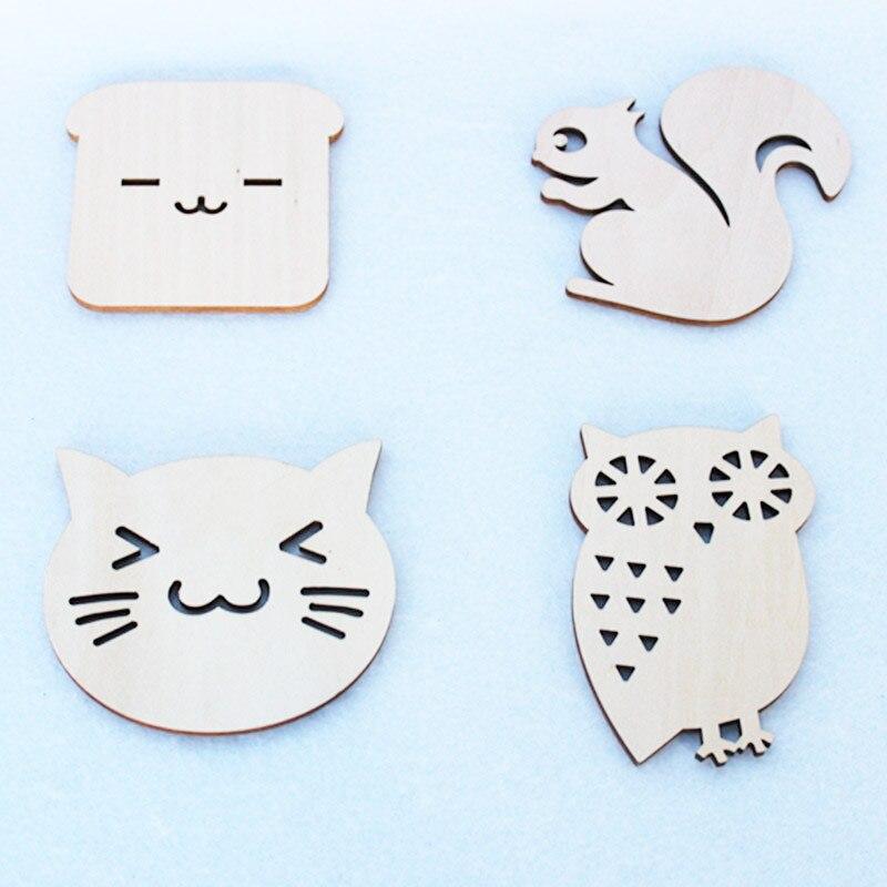 Gematigd 1 Stuk Houten Eettafel Placemat Coaster Keuken Accessoires Mat Cup Bar Mok Cartoon Dier Drinken Pads Desktop Mat