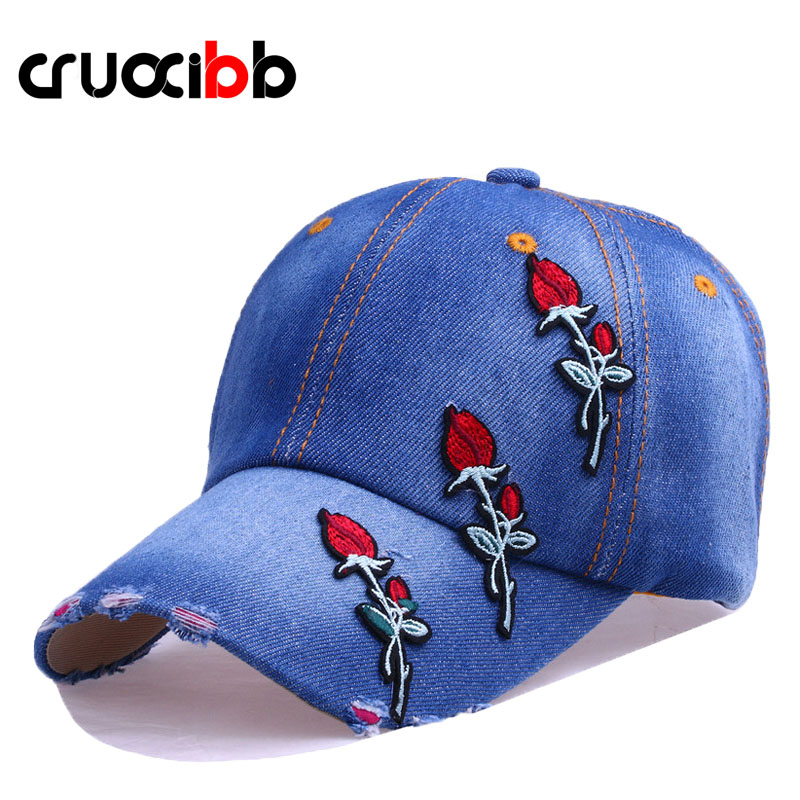 CRUOXIBB High Quality Baseball Cap Embroidery Rose Denim Women Snapback Cap Cotton Jeans Hat Casquette Bone Caps Chapeau Female new arrival high quality snapback cap denim baseball cap parent kids jean badge embroidery hat for men women boy girl cap b347