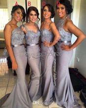 Free shipping Four style Silver Bridesmaid Dresses Mermaid Prom Dresses With Lace Appliques beaded sweep train  WL27