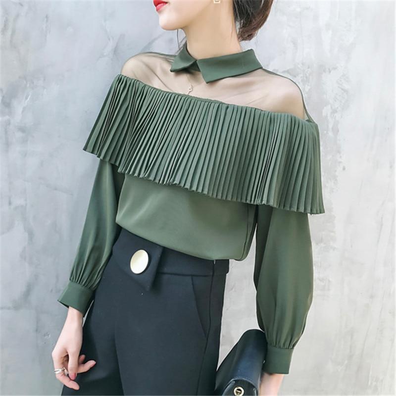 2017 autumn women mesh Strapless turn collar blouse femme cold shoulder long sleeve chiffon shirt ladies