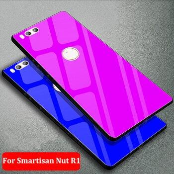 Перейти на Алиэкспресс и купить Для Smartisan Nut R1 чехол сплошной цвет Закаленное стекло чехол для Smartisan NutR1 чехол для телефона DE106 Nut R 1 защитный чехол