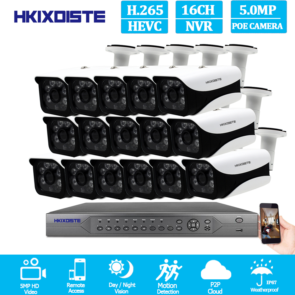 HKIXDISTE H.265 Super HD 16CH 5MP 4K POE security camera System Kit POE IP Camera Outdoor  cctv Video Surveillance NVR setHKIXDISTE H.265 Super HD 16CH 5MP 4K POE security camera System Kit POE IP Camera Outdoor  cctv Video Surveillance NVR set