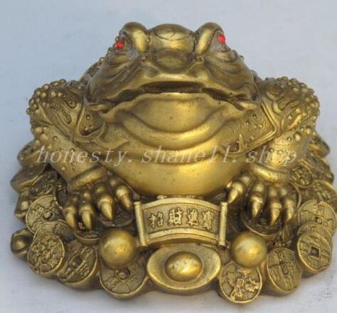 Art chinois exquis chine fengshui bronze cuivre richesse argent doré crapaud grenouille bête statue en gros tibétain cuivre