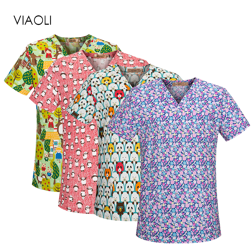 Female Medical Clothing Scrub Sets Doctors Nurses Short Sleeve Uniforms Dentistry Oral Clinic Pet Doctor Workwear Spa Uniform