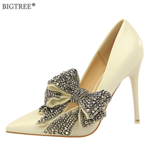 BIGTREE 2019 new high heels crystal Butterfly-knot flower elegant shoes Women party wedding shoe sweet Spring pumps pointed heel