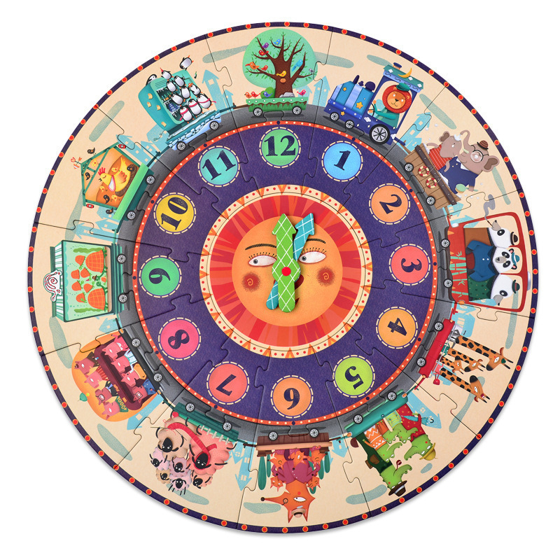 25 Pcs/set Big Puzzle Games Paper Puzzle Digital Clock Cognition Mideer My Time Travel for Kids Children