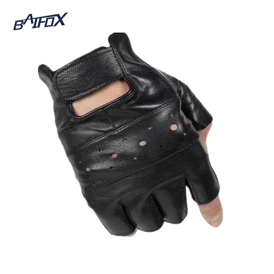 Womens leather biker gloves - Baifox Outdoor Sports Motorcycle Gloves Pro Biker Half Finger Racing Motocross Motorbike Gloves For Free Size