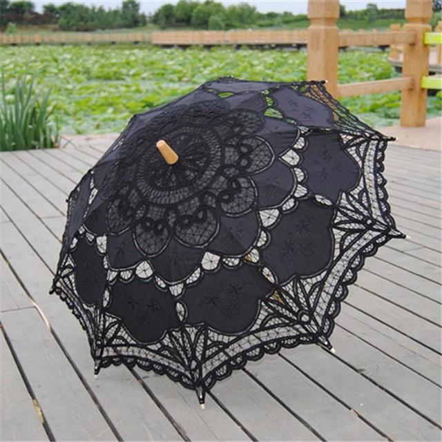 2016 Preto Borda Do Laço Sun Parasol Nupcial Do Casamento Handmade Bordados de Algodão Preto Guarda-chuva Guarda-chuva de Noiva Decoração Do Partido Barato