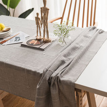Japan Style Linen Cotton Tablecloth Coffee Embroidered Plaid Stripes Dustproof Tea Table cloth Kitchen Restaurant Cover