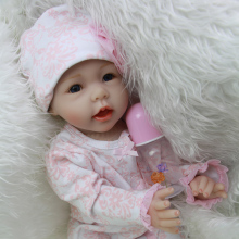 New Style 22 Inch 55 cm Reborn Babies Girl Doll Lifelike Newborn Silicone Baby Dolls Toy With Blue Eyes Kids Birthday Xmas Gift