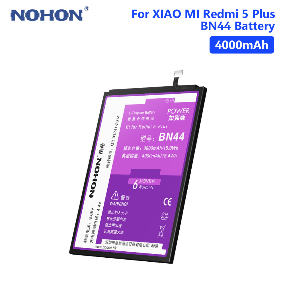 NOHON BN44 High Quality Real 4000mAh Lithium Battery For Xiaomi Redmi 5 Plus Rechargeable Phone Batteries Free Tools in Mobile Phone Batteries from Cellphones Telecommunications