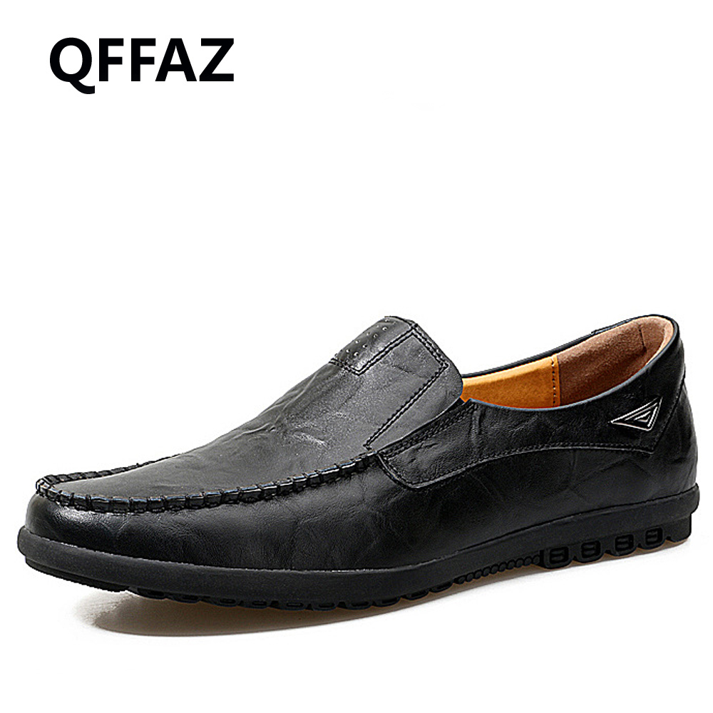 QFFAZ New Summer Genuine Leather Shoes Men Casual Moccasins Mens Slip-On Loafers Breathable Driving Black Shoes Big Size 38-47 bole new handmade genuine leather men shoes designer slip on fashion men driving loafers men flats casual shoes large size 37 47