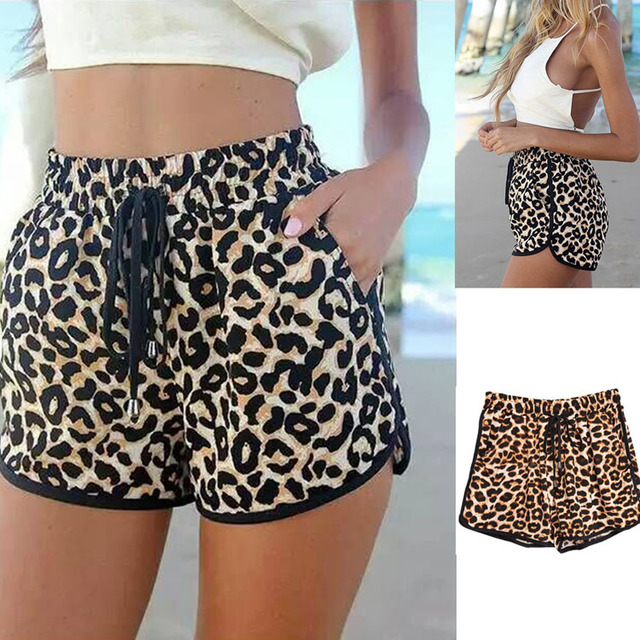 2016 Brand Fashion Women's Shorts Summer Loose Leopard Printed Short Hot Beach High Waist Casual Shorts Plus Size
