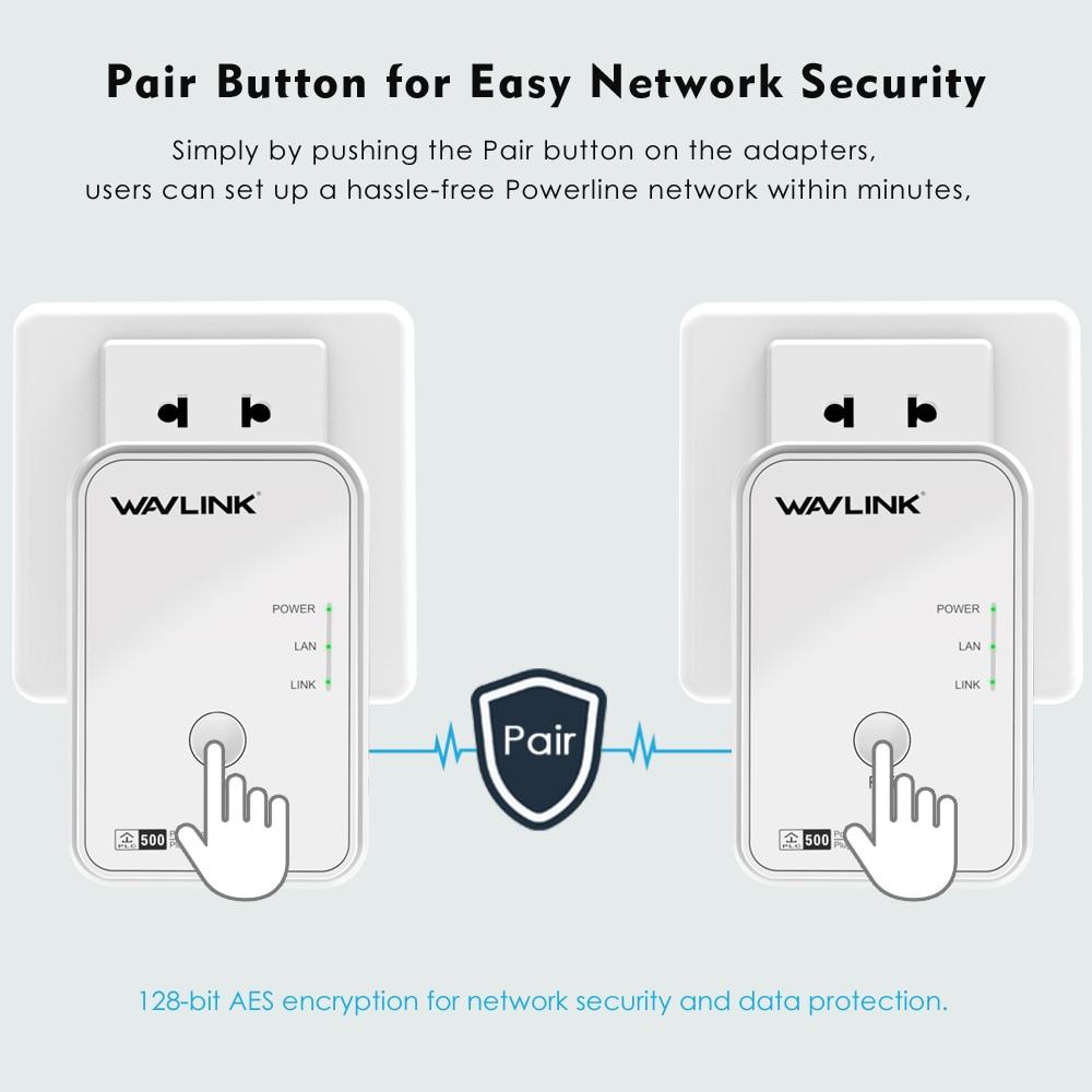 Wavlink 1 Paire 500 Mbps Puissance ligne Réseau Adaptateur Ethernet PLC adaptateur Kit Homeplug AV Plug and Play IPTV Powerline AV500 L'UE/NOUS - 5