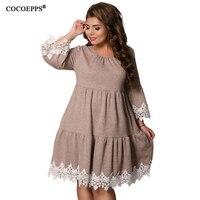 2018 5XL 6XL Winter Women Patchwork Lace Dress Plus Size women Clothing Large Size Autumn Female Dress Big Size Elegant vestidos