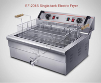 Electric Fryer with Strainer 20L Capacity 4800W Temperature Control, Timer Commercial Fryer for French Fries, Chicken EF 201S