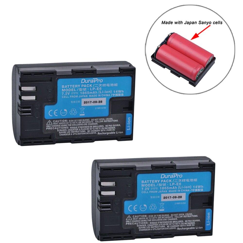 2 pièces LP-E6 LP-E6N LP E6 Batterie D'appareil Photo Avec le Japon Cellules pour Canon LP-E6 EOS 5DS 5D Mark II Mark III 6D 7D 60D 60Da 70D 80D