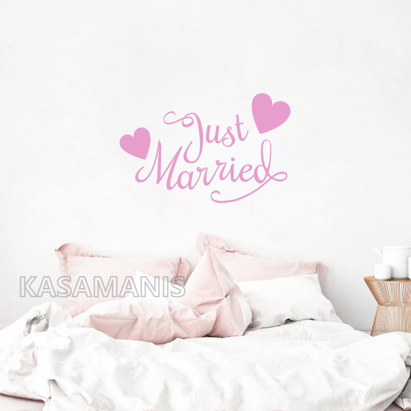 Just Married with Hearts bedroom wall decals