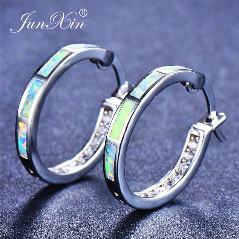 JUNXIN Mystical White Orange Blue Fire Opal Hoop Earrings For Women 925  Sterling Silver 0dccf1b9341b