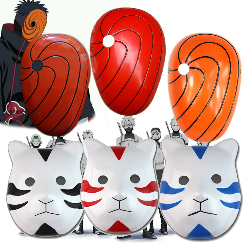 6styles Janpan Cartoon Naruto Tobi Uchiha Obito Uchiha Madara Mask Cat Face Mask Cosplay Party PVC