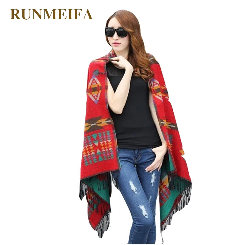[RUNMEIFA] 2017 Women Bohemian Hooded Coat Cape Poncho Shawl Scarf Tribal Fringe Hoodie Jacket