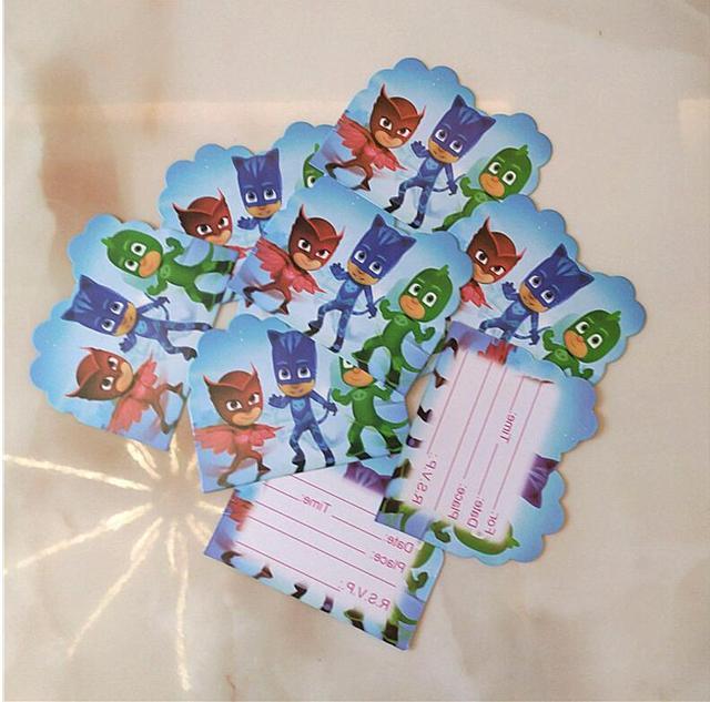 10pcs Lot Baby Shower PJ Masks Theme Cartoon Kids Birthday Party Invitation Card Decorations