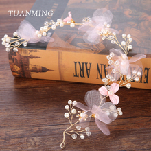 TUANMING 1PCS Wedding Pink Fabric Flower Hair Jewelry Crystal Pearl Headbands Women and Girl Hairband Gold Hair Accessories