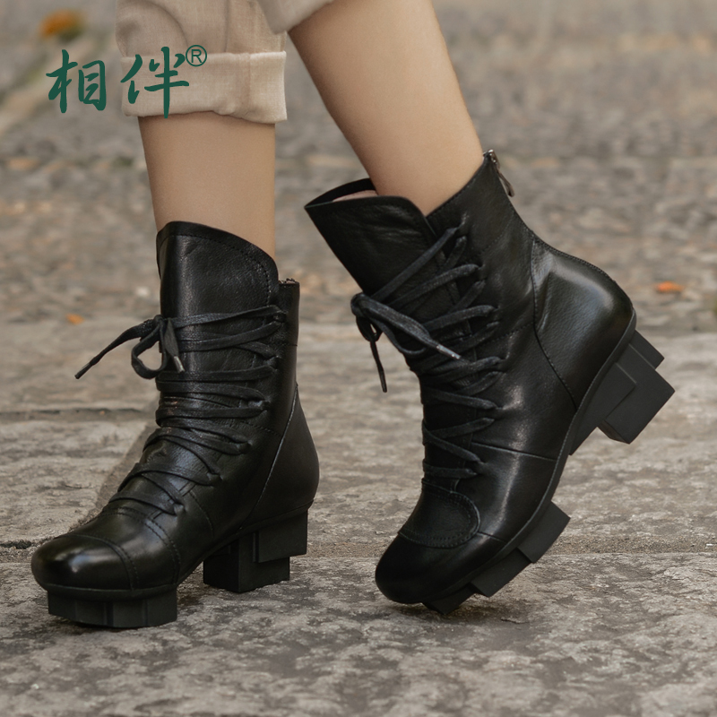2016 autumn and winter women leather shoes platform comfortable black lacing up boots Martin pointed toe waterproof work boots