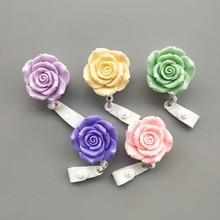 15Pcs/Lot Colorful Resin Rose Design Nurse Retractable Badge Reel Holder Pull ID Card Badge Holder Belt Clip Hospital School