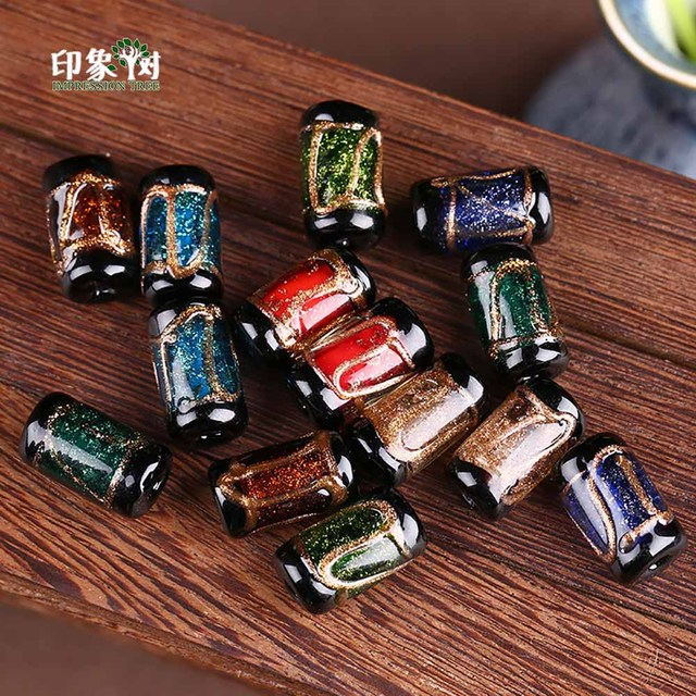 17x10mm 10pcs Cylinder Multi Color Sands Powder Handmade Lampwork Beads Glass Spacer Beads Crystal Bead DIY Jewelry Making 1624