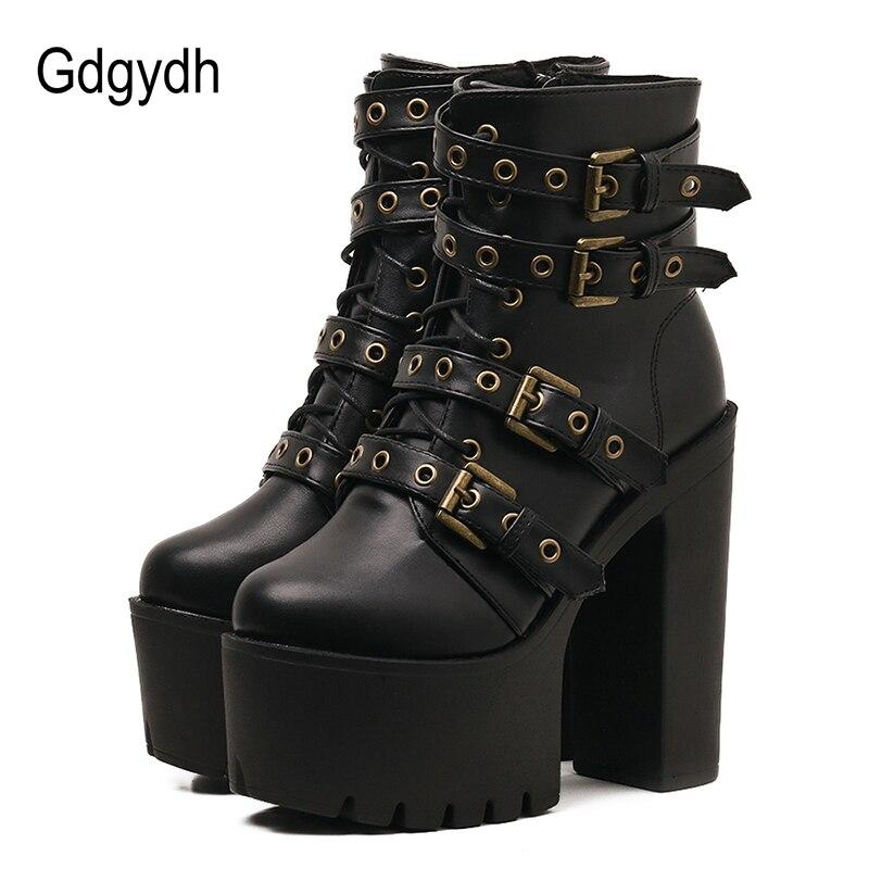 Gdgydh/пикантные Черные ботильоны с заклепками, женская обувь на платформе из мягкой кожи, осенне-зимние женские ботинки на молнии, обувь на оч...