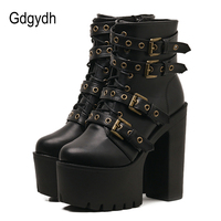 Gdgydh Sexy Rivet Black Ankle Boots Women Platform Soft Leather Autumn Winter Ladies Boots With Zipper
