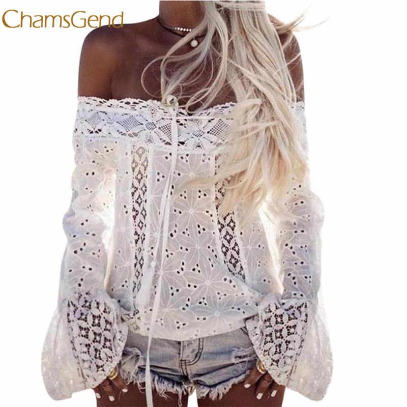 Chamsgend женская блузка с открытыми плечами с Длинным Рукавом Кружевная Свободная блузка Топы l0312