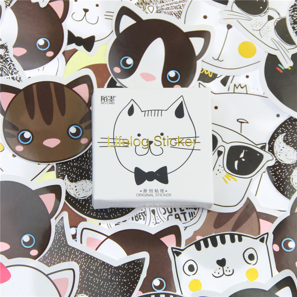 45 Pcs/lot Cute Cat Head Mini Paper Sticker Decoration DIY Album Diary Scrapbooking Label Sticker Kawaii Stationery head shaking cute cat style toy for car decoration white