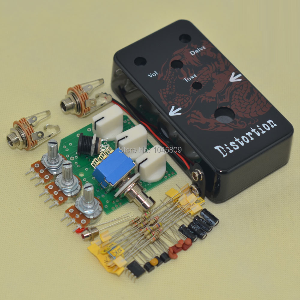DIY Distortion Effects Pedal All Kits True Bypass With  Hammond 1590B Enclosure-Hole