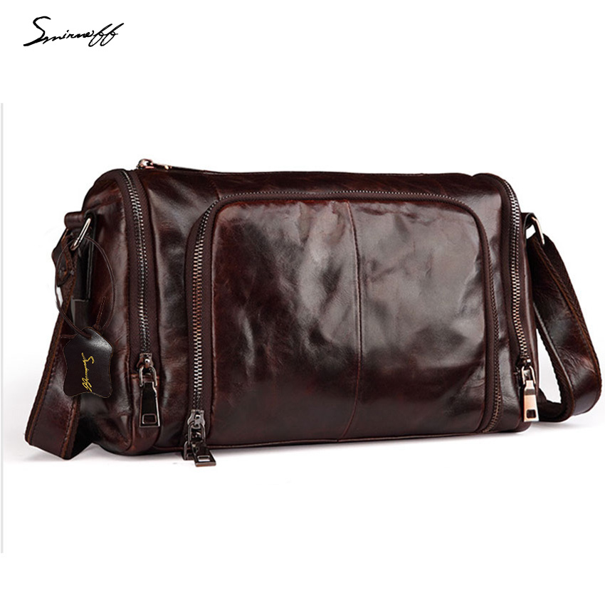 ФОТО SMIRNOFF 2017 Man Messenger Bag Famous Brand Leisure Travel Vintage Oil Leather Handbag Luxury Brand Men Shoulder Bag