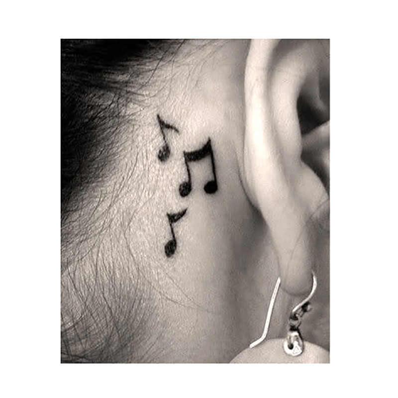 1 sztuk wodoodporna tymczasowa naklejka tatuaż na ucho palec nuta ptak gwiazdy linia smuga henna tatto flash tatoo fałszywe dla kobiet