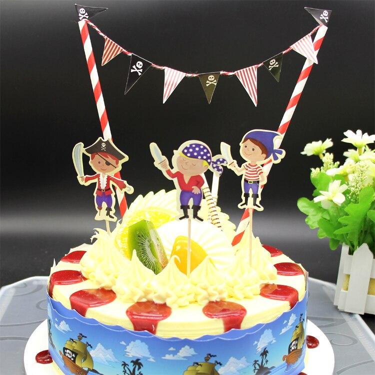 Awesome Pirate Birthday Cake Topper Birthday Party Decorations Kids Funny Birthday Cards Online Kookostrdamsfinfo