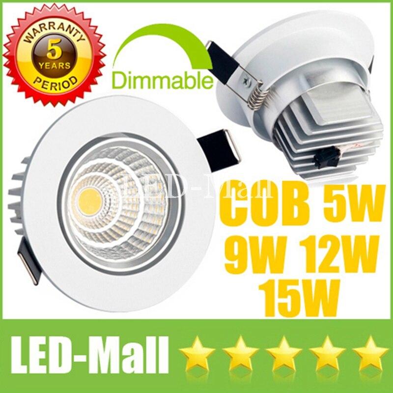 1 шт. CREE 5 Вт 9 Вт 12 Вт 15 Вт затемнения удара светодиодный светильники CRI> 88 поворотный приспособление встраиваемые потолка вниз огней лампы + П...
