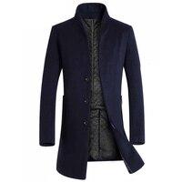 Dropshipping 2018 Men Winter Jacket Long Mens Overcoats Warm Thicken Mens Wool Jacekt Men Winter Jackets Coats Men Erkek Mont