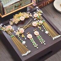 Orient Chinese traje cocar hairpin comb tassel brincos da noiva clássico acessórios para o cabelo por atacado