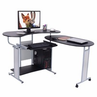 Goplus Expandable L Shaped Computer Desk Office PC Table Corner Workstation 2 Usage Rolling Desks Home