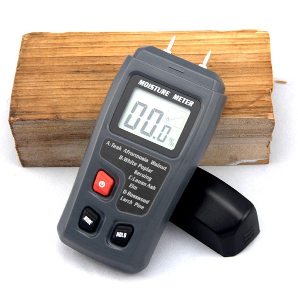 BSIDE EMT01 Two Pins Digital Wood Moisture Meter 0-99.9% Wood Humidity Tester Timber Damp Detector with Large LCD Display 10 grades wood density optional large lcd intelligent moisture meter inductive wood moisture detector