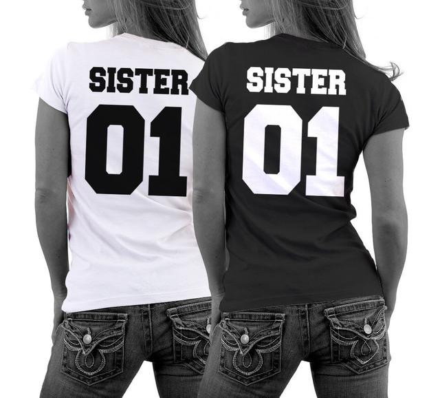 Camisa IRMÃ 01 Melhores Amigos namoradas T-Shirt Parchen Casal Liebe Freundinnen Parceiro Encabeça Tee