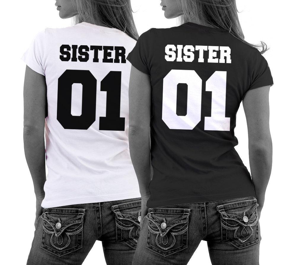Girlfriends Shirt SISTER 01 Best Friends T Shirt Parchen Couple Liebe  Freundinnen Partner Tops Tee-in T-Shirts from Women s Clothing   Accessories 48c7081ab2ba