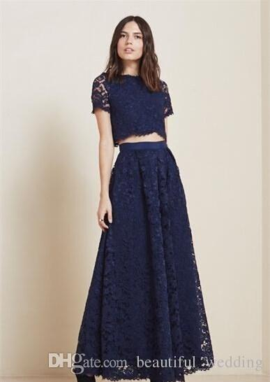 2015 Cheap Lace Two Pieces Prom Dresses Navy Blue Short Sleeves Crew Neck  Elegant Evening Dresses Floor Length A Line Bridesmaid-in Prom Dresses from  ... b280ebcdf8d0