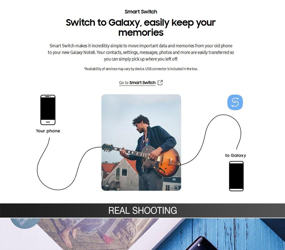 Original Unlocked Samsung Galaxy Note 8 Smartphone 6GB RAM 64GB ROM Dual Back Camera 12MP 6.3inch Octa Core 3300mAh Mobile Phone