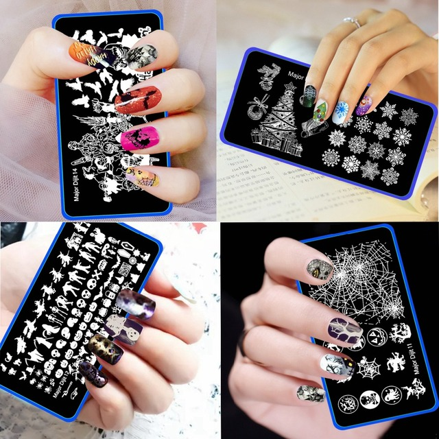 Christmas Halloween Pumpkin Skeleton Deer Stainless Nail Plates Nail ...
