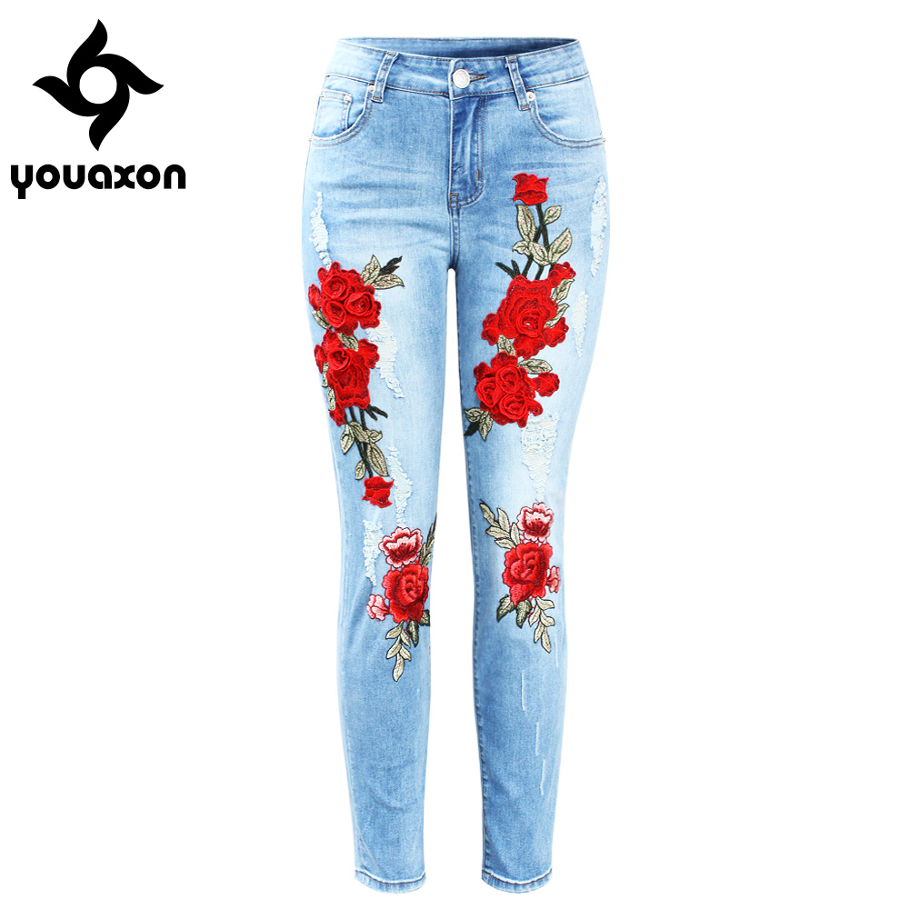 2126 Youaxon New Plus Size Stretchy Ripped Jeans With Scuffs 3D Embroidery Flowers Woman Denim Pants Trousers For Women Jeans denim
