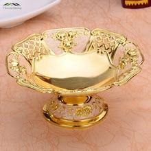 Neue Glänzende Goldene Überzogene Frucht Gericht Hohl Dessert Platte Obst Rack Süße Gerichte Europen Platten Für Hochzeit Oder Party 17X17X9 CM